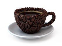 Coffee cup. Assembled from coffee beans - 3d render Stock Photo