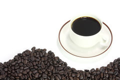 Coffee cup. With curved line brown coffee beans texture Royalty Free Stock Image