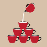 Coffee Cup. Pouring Coffee To Red Cup Vector Illustration Stock Photos