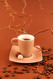 COFFEE CUP. With coffee-beans on toning brown background Stock Image