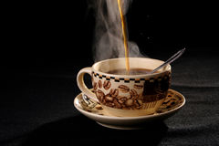 Coffee cup. Sprightliness, cheerfulness, coffee-beans, tea-party, breakfast, cappucino, cosiness Royalty Free Stock Photos