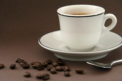 Coffee Cup. With coffee beans stock photos