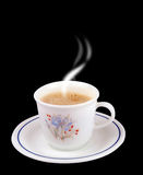 Coffee cup. Photo of a coffee cup with black background Royalty Free Stock Photography