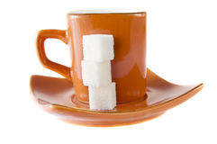 Coffee cup. And three sugar cube royalty free stock photos