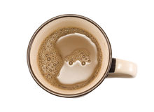 Coffee cup. Car shape on the coffee Royalty Free Stock Photo