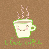 Coffee cup. Smiling coffee cup  -  cute cartoon illustration Stock Images