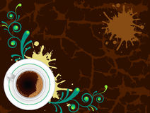 Coffee cup on abstract floral background. Coffee cup on abstract floral and grunge background Royalty Free Stock Images