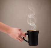 Coffee cup with abstract white steam Royalty Free Stock Photos