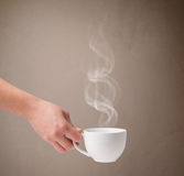 Coffee cup with abstract white steam Stock Photography