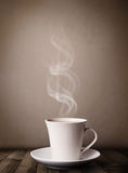 Coffee cup with abstract white steam Stock Photo