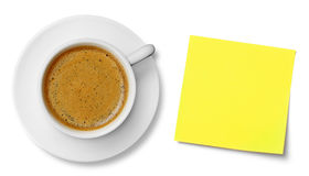 Coffee cup and adhesive note Royalty Free Stock Photo