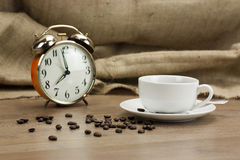 Coffee cup against a rustic background Stock Photo