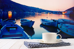 Coffee cup against sea landscape Royalty Free Stock Image