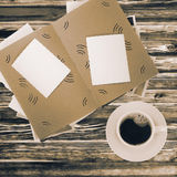 Coffee cup and album Stock Photo