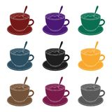 Coffee cup americano.Different types of coffee single icon in black style vector symbol stock illustration web. Stock Image