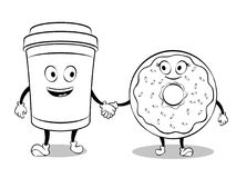 Free Coffee Cup And Donut Coloring Book Vector Royalty Free Stock Photos - 110460528