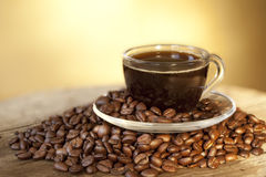 Coffee Cup And Grain Royalty Free Stock Photo
