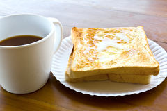 Coffee Cup And Pour The Milk Toast Stock Photo
