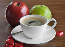 Coffee cup and apples Stock Photo