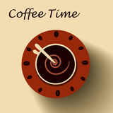 Coffee cup as clock. Coffee time concept. Royalty Free Stock Photos