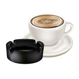 Coffee cup and ashtray  Royalty Free Stock Image