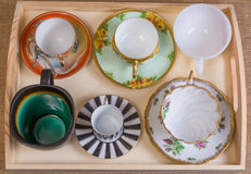 Coffee cup assortment. Assortment of tea and coffee cups looking down Stock Photos