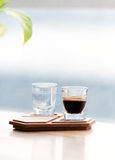 Coffee cup on the authentic wooden stand Stock Photography
