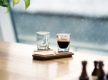 Coffee cup on the authentic wooden stand Stock Images