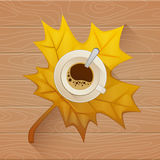 Coffee cup on the autumn fall leaves and wooden old table background.. Vector Flat illustration Royalty Free Stock Photo