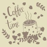 Coffee cup in autumn leaves. Coffee time text Royalty Free Stock Photography