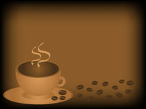 Coffee cup background. Coffee cup and beans on a stylized background Stock Photos