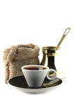 Coffee cup with bag and turkish Royalty Free Stock Photography
