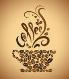 Coffee cup. bean coffee. Coffee cup. bean on brown background royalty free illustration
