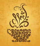 Coffee cup. bean coffee. Coffee cup. bean on yellow background vector illustration