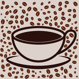 Coffee cup on bean filled background Stock Image