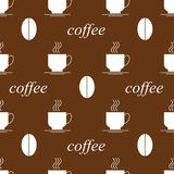 Coffee cup coffee bean seamless. Coffee cup coffee bean seamless background on brown field Stock Photos