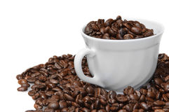 Coffee cup with beans Royalty Free Stock Images