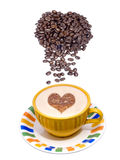 Coffee cup and beans. Fresh cup of coffee and coffee beans on white background with room for text Stock Photo