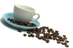 Coffee Cup And Beans. Empty cup of coffee and beans isolated over white Stock Photos