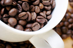 Coffee cup of beans. Coffee cup with beans stock images