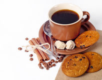 Coffee cup and beans background Stock Images