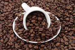 Coffee cup with beans Royalty Free Stock Image