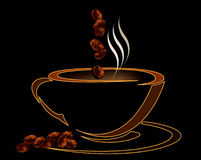Coffee cup with beans on black background Royalty Free Stock Images