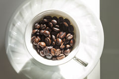 Coffee cup and beans. Cafe decoration concept Royalty Free Stock Photography