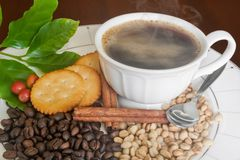 Coffee cup, beans, cinnamon and cracker Royalty Free Stock Photos