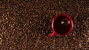 Coffee cup on coffee beans in close up photo. Stock Images