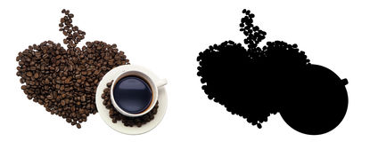 Coffee cup and beans Coffee, isolated. And Black Picture for die-cut Royalty Free Stock Photo