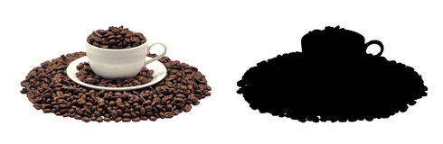 Coffee cup and beans Coffee, isolated. And Black Picture for die-cut Royalty Free Stock Images