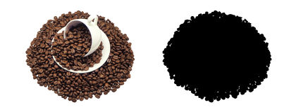 Coffee cup and beans Coffee. Isolated and Black Picture for die-cut Stock Photo