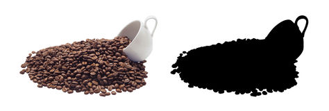 Coffee cup and beans Coffee, isolated. And Black Picture for die-cut Royalty Free Stock Photos